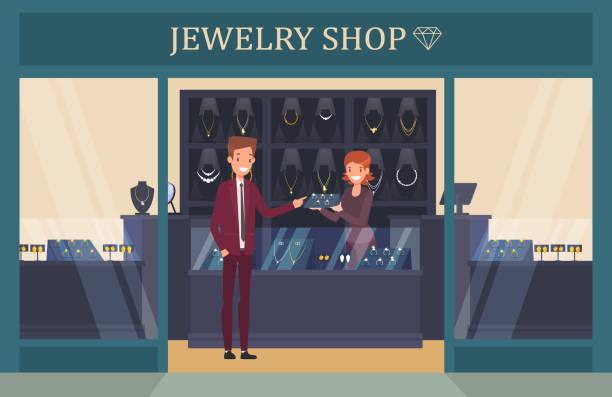 schmuck shop schaufenster mit mann wahl ring - schmuck stock-grafiken, -clipart, -cartoons und -symbole