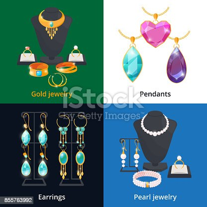 istock Jewelry shop with different luxury accessories. Sapphire, diamond and golden bracelet 855763992
