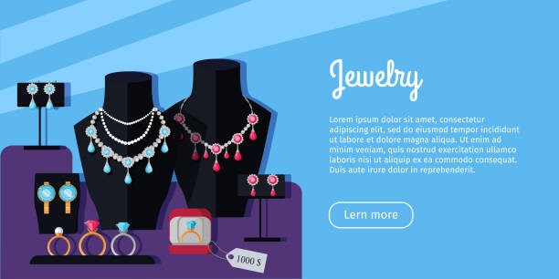 schmuck store showcase vector web banner - glasohrringe stock-grafiken, -clipart, -cartoons und -symbole