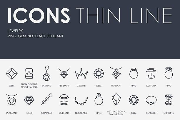 ilustraciones, imágenes clip art, dibujos animados e iconos de stock de joyas iconos de línea fina - joyas