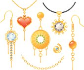 A set of earrings and necklaces. All elements are individually grouped.