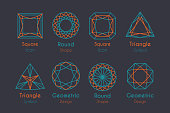 Abstract or Emblems Set with geometric diamond shapes. Vector line art icons collection with round, square and triangular signs