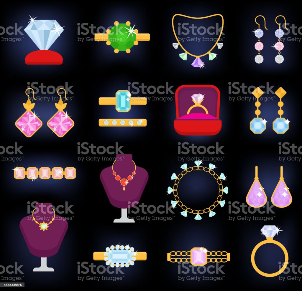 Jewelry vector jewellery gold bracelet necklace earrings and silver rings with diamonds jewel accessories set illustration isolated on white background vector art illustration