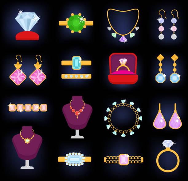 ilustraciones, imágenes clip art, dibujos animados e iconos de stock de joyas vector joyería oro pulsera collar aretes y anillos de plata con diamantes joya ilustración set accesorios aislado sobre fondo blanco - joyas