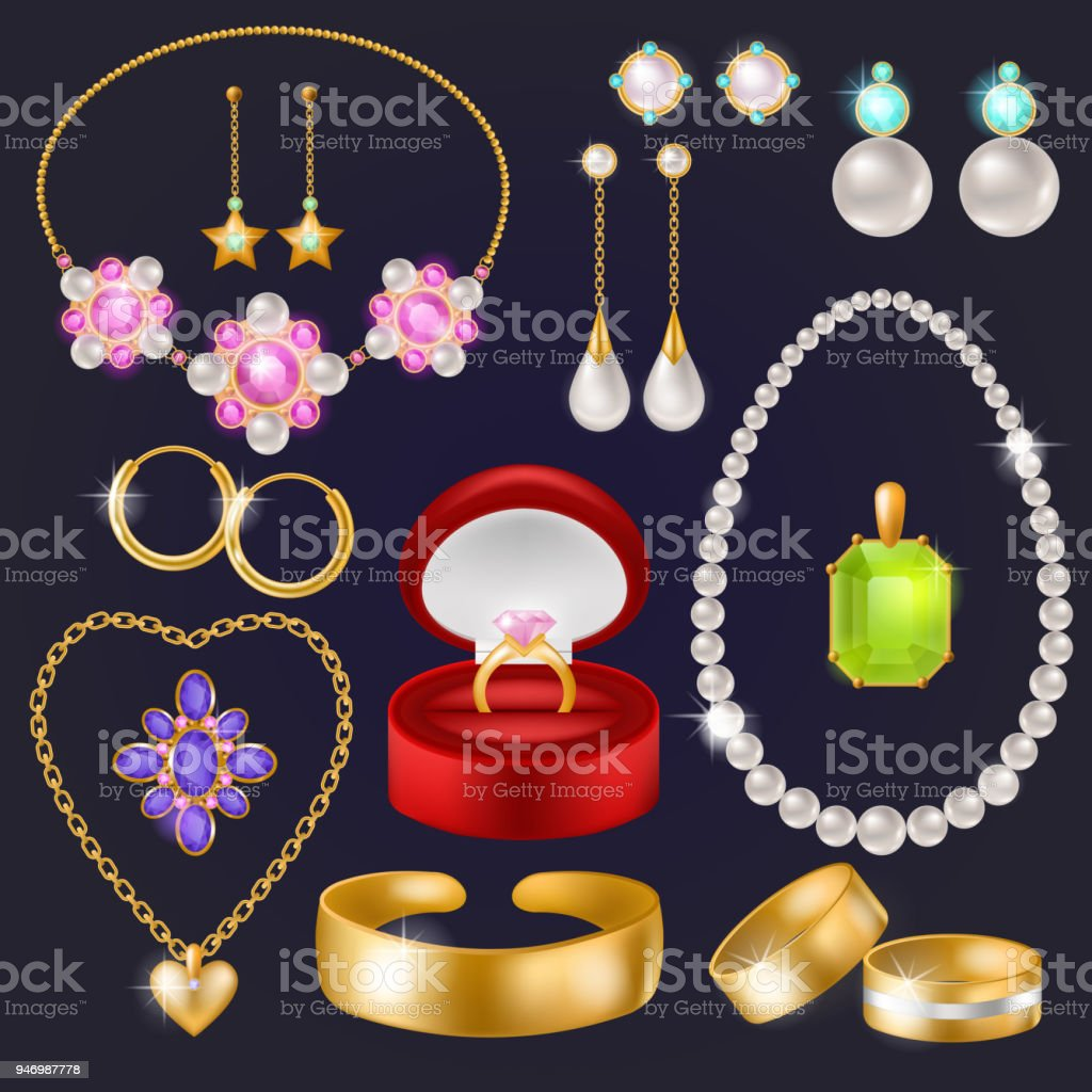c15e1ee1d6df Joyas vector joyería oro pulsera collar aretes y anillos de plata con  diamantes conjunto ilustración de