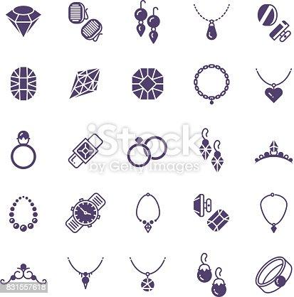d6aef4df9972 831557618istock Set de iconos de silueta de vector de joyerÃa. Pendientes  con diamantes
