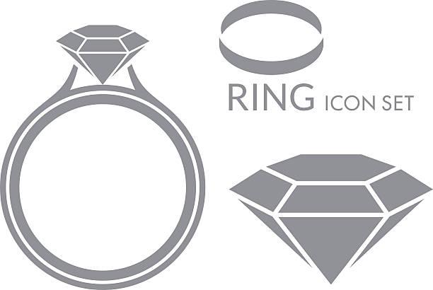 schmuck. ehering. diamant. symbol-set - trauring stock-grafiken, -clipart, -cartoons und -symbole