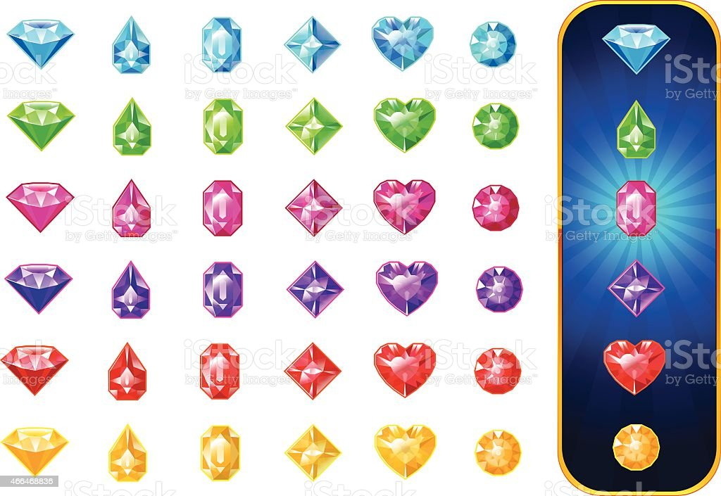 Jewels collection vector art illustration