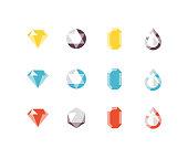 Shiny jewelry, gems, and jewels including diamond, emerald, ruby, topaz