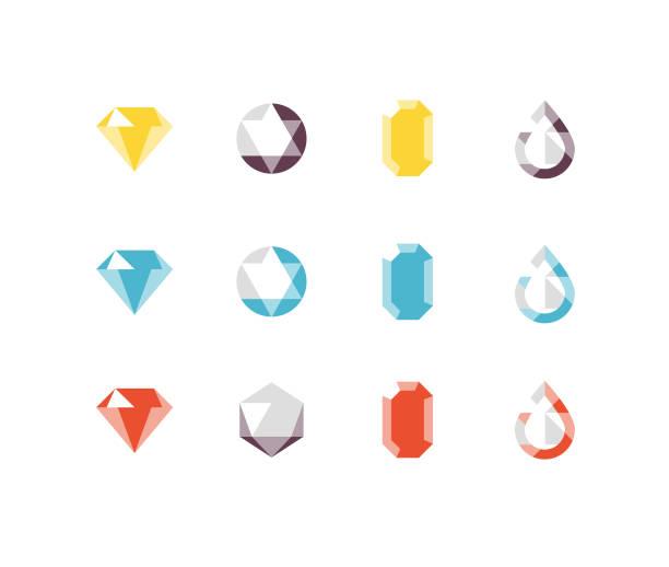 ilustrações de stock, clip art, desenhos animados e ícones de jewels flat icons - jóias