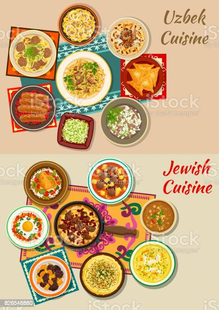 Jewish and uzbek cuisine dishes for menu design vector id826548880?b=1&k=6&m=826548880&s=612x612&h=ujfboxhb1p 68j42hgdx6punvjdmzgoacfwdaqvnay4=