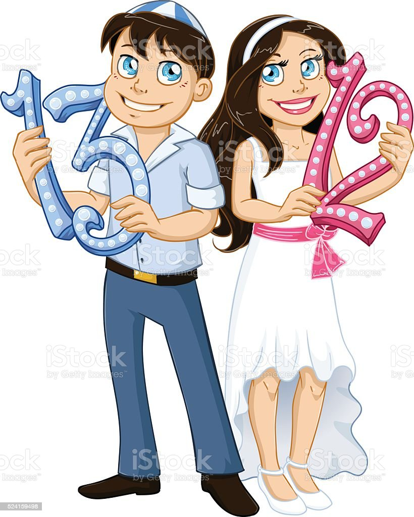 Jewish Boy And Girl Hold Numbers For Bar Bat Mitzvah vector art illustration