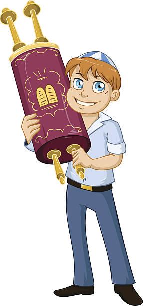 Jewish Boy Hold Torah For Bar Mitzvah vector art illustration
