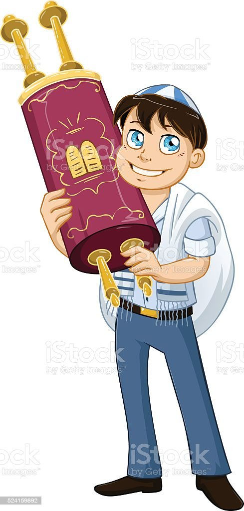 Jewish Boy With Talit Holds Torah For Bat Mitzvah vector art illustration