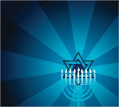 """Menorah background. Star of David illustration with menorah and burst. Check out my """"One God-Christian & Jewish Faith"""" light box or visit my portfolio for more."""