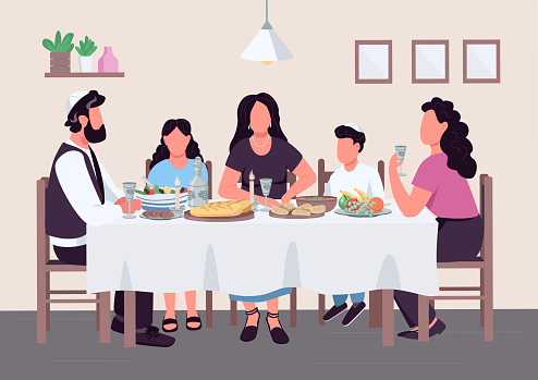 Jewish family meal flat color vector illustration