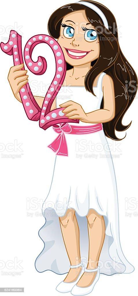 Jewish Girl Holds Number Twelve For Bat Mitzvah vector art illustration