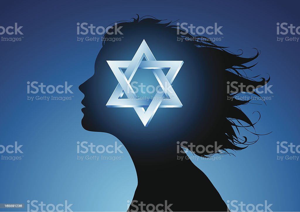 Jewish girl vector art illustration