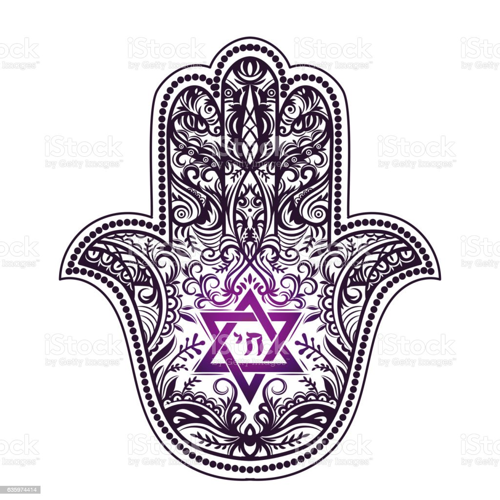 Jewish Hamsa Tattoo Stock Vector Art More Images Of Backgrounds