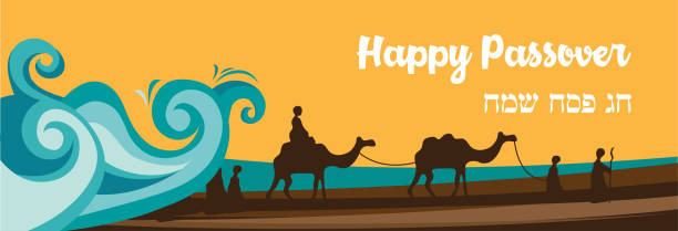 jewish holiday banner template for passover holiday. group of people with camels caravan riding in realistic wide desert sands in middle east - passover stock illustrations, clip art, cartoons, & icons