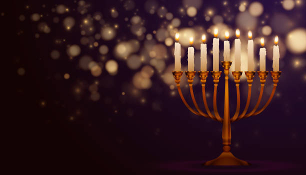 Jewish holiday Hanukkah background Jewish holiday Hanukkah background, realistic menorah (traditional candelabra), burning candles, bokeh effect. Religious holiday art with Happy Hanukkah lettering, Vector illustration. candlestick holder stock illustrations
