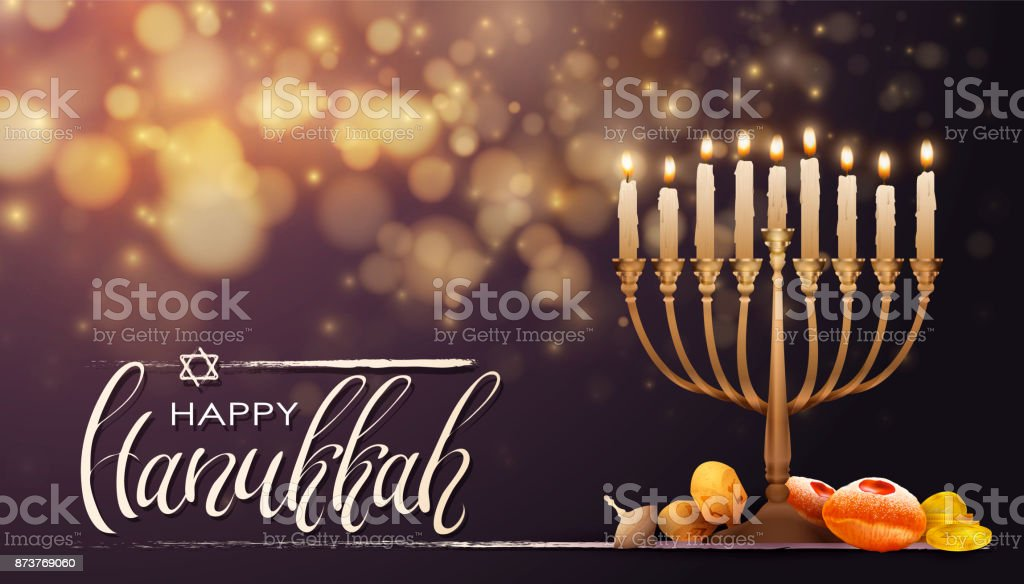 Jewish holiday Hanukkah background, realistic menorah , burning...