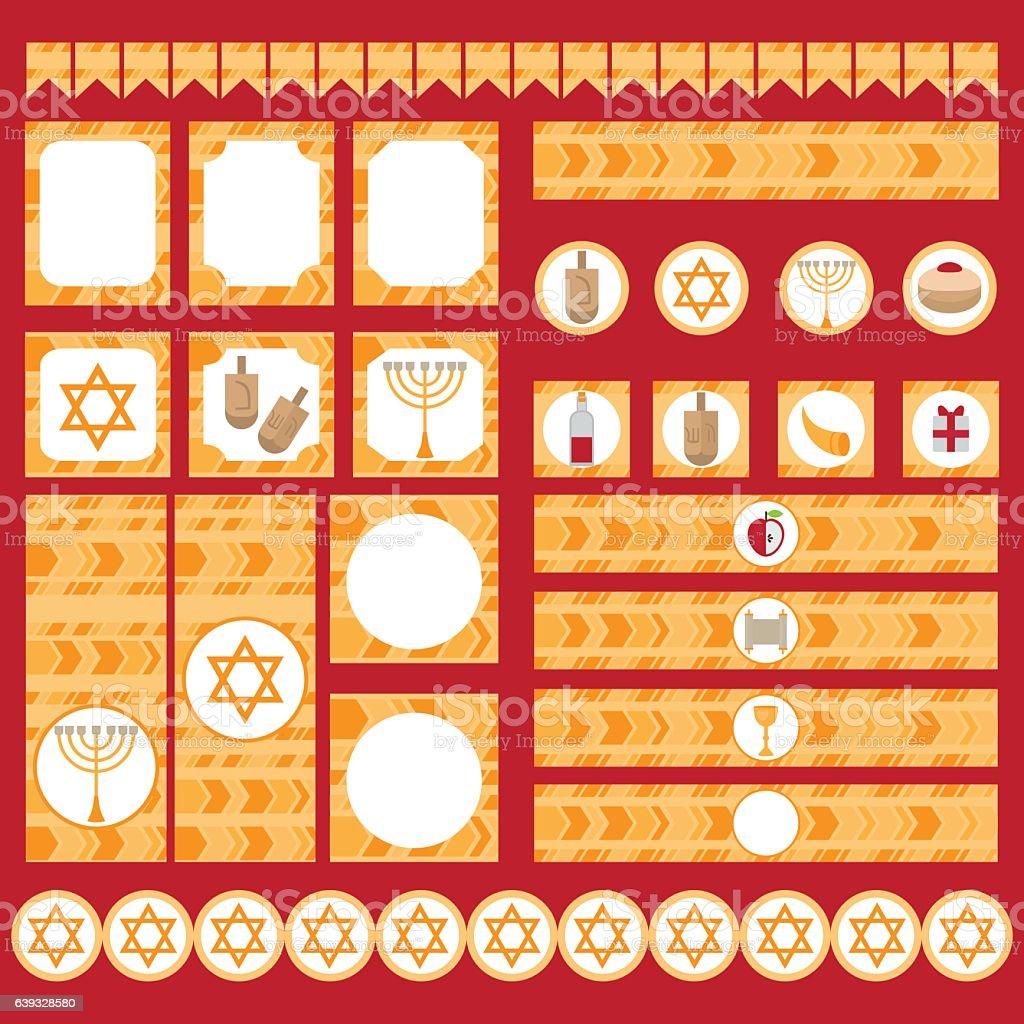 Printable set of Jewish holiday Hanukkah party elements. Templates,...