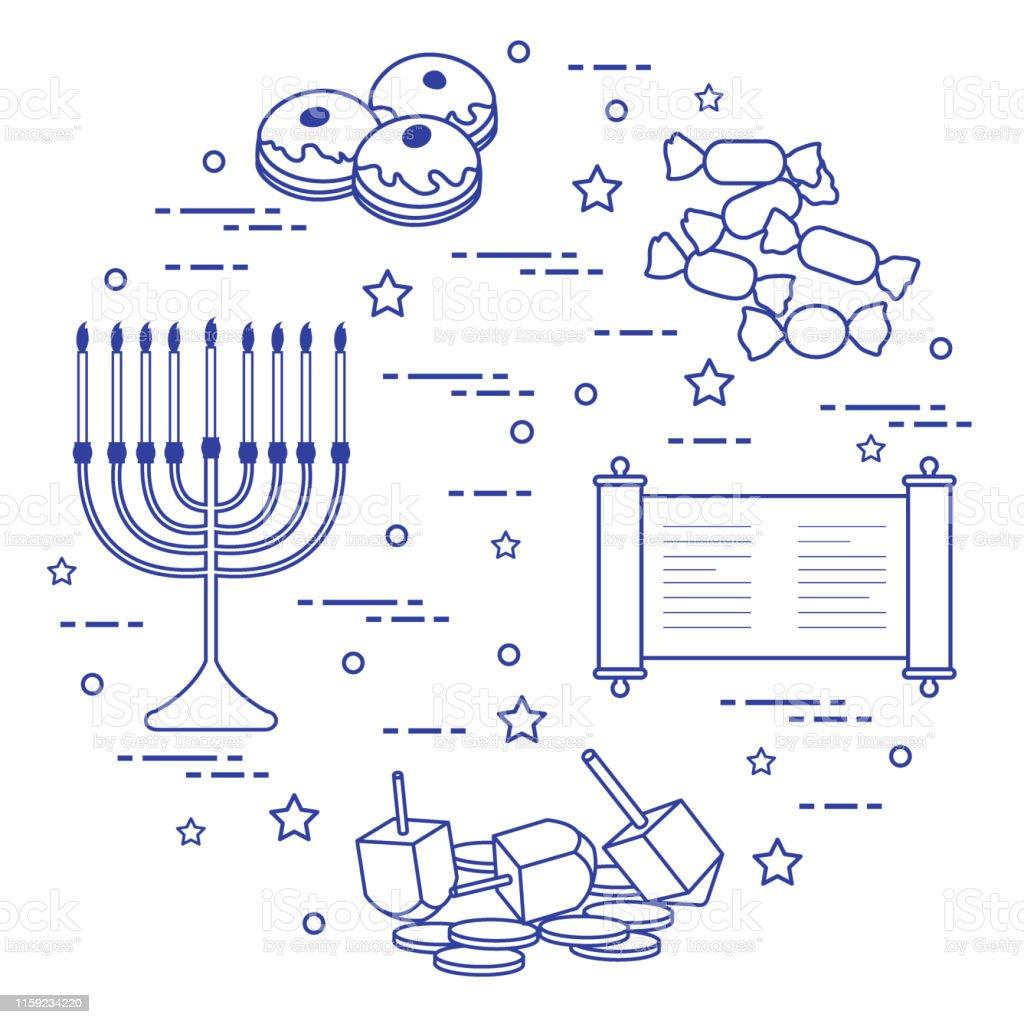 dreidel, sivivon, menorah, coins, donuts and other. Design for...