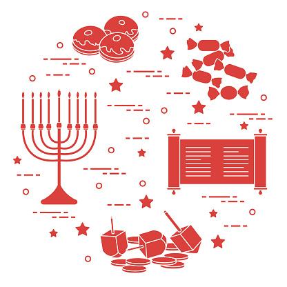 Jewish holiday Hanukkah: dreidel, sivivon, menorah, coins, donuts and other.