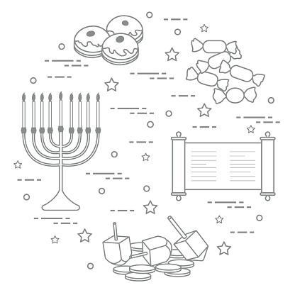 Festividad judía de Hanukkah: trompo, sivivon, menorah, monedas, donas y otros.