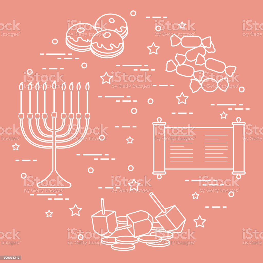 Jewish Holiday Hanukkah Dreidel Sivivon Menorah Coins Donuts And ...