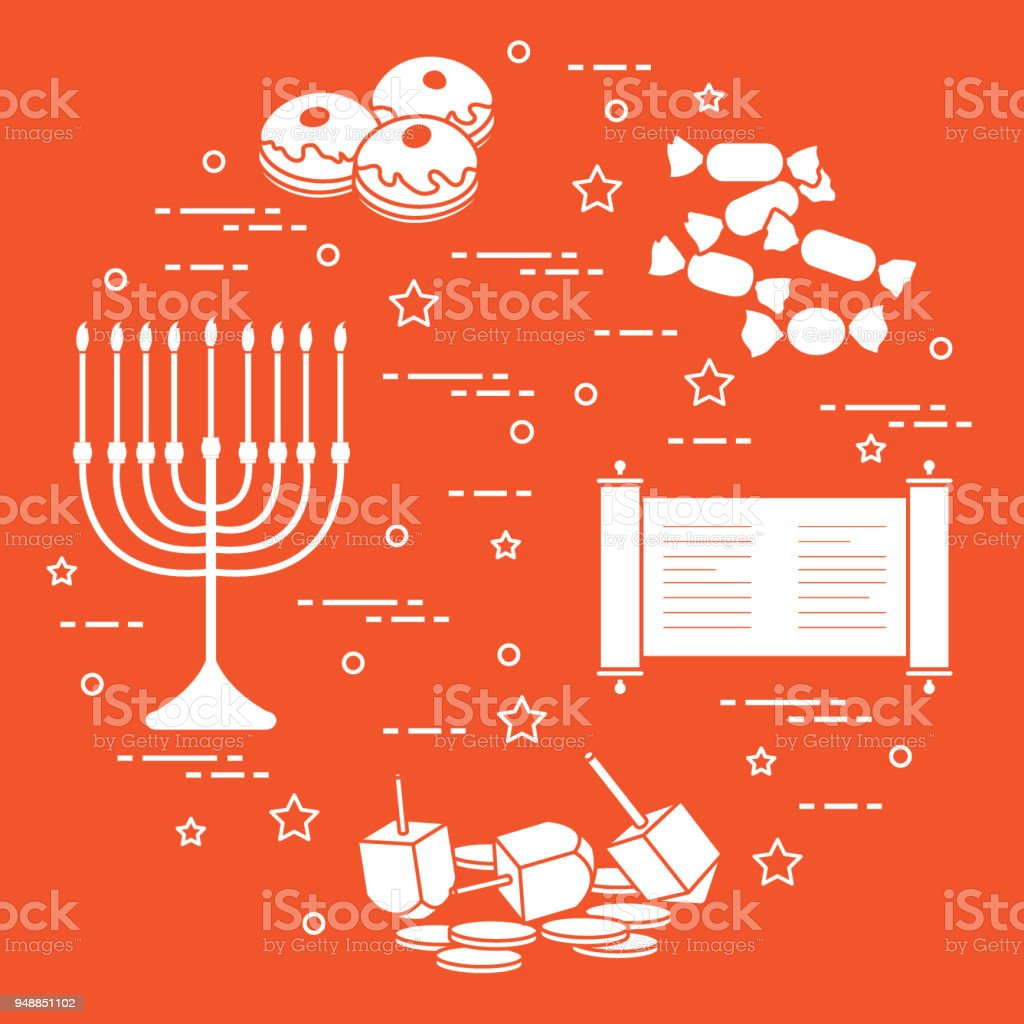 Jewish holiday Hanukkah: dreidel, sivivon, menorah, coins, donuts and other. vector art illustration