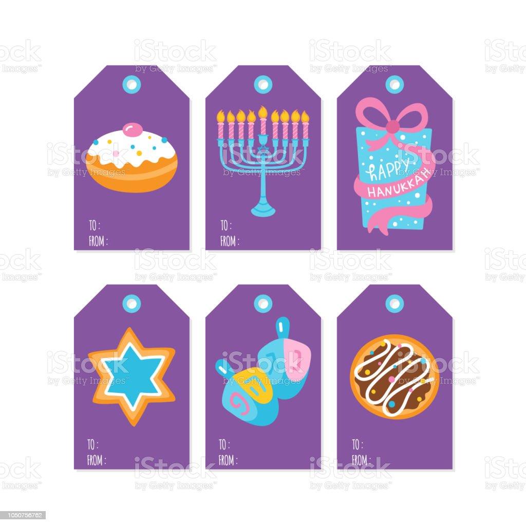Jewish holiday Hanukkah gift tags and labels set. Vector illustration