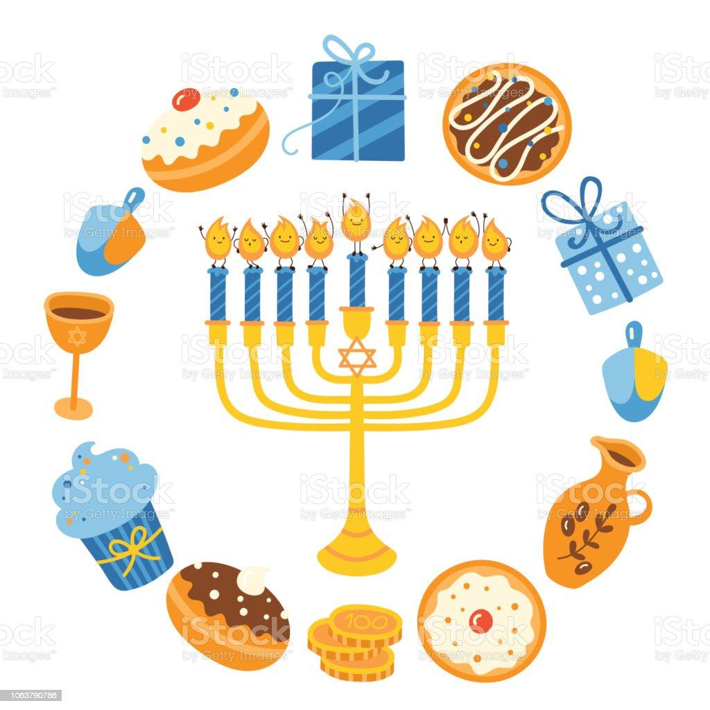 Jewish holiday Hanukkah greeting card design. Vector illustration