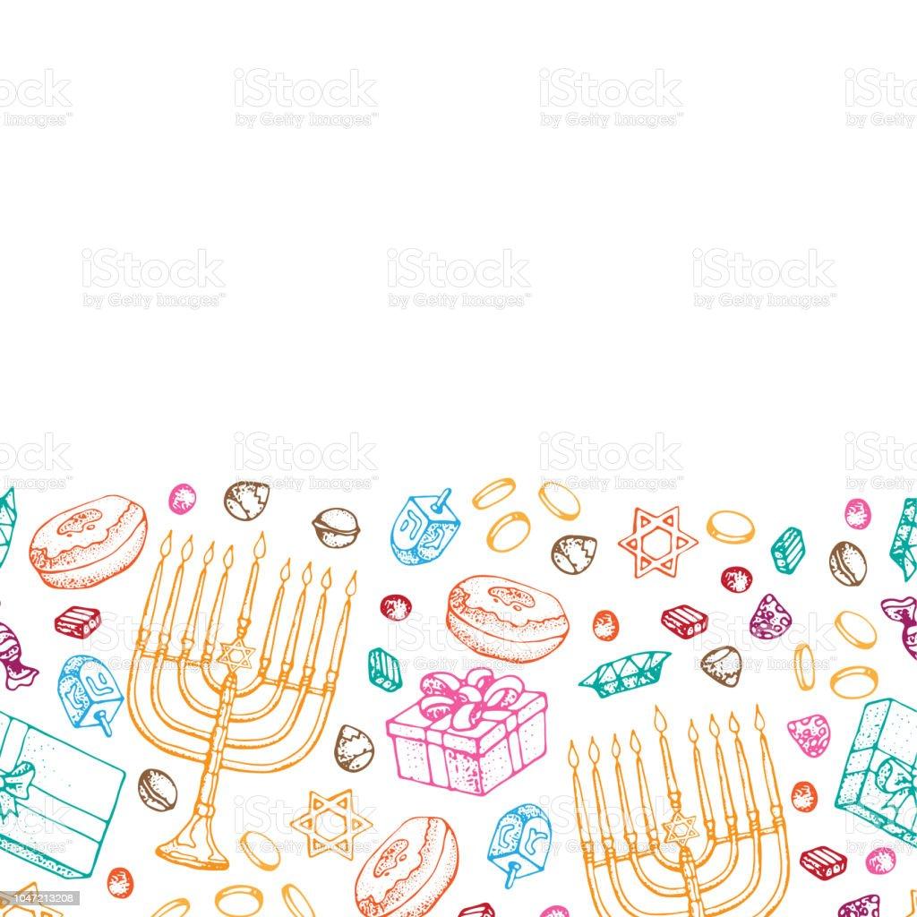 Jewish holiday Hanukkah greeting card. Seamless border of traditional...