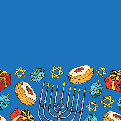 Jewish holiday Hanukkah greeting card. Seamless border of traditional Chanukah symbols isolated on white - dreidels, sweets, donuts, menorah candles, star David glowing lights. Vector template.
