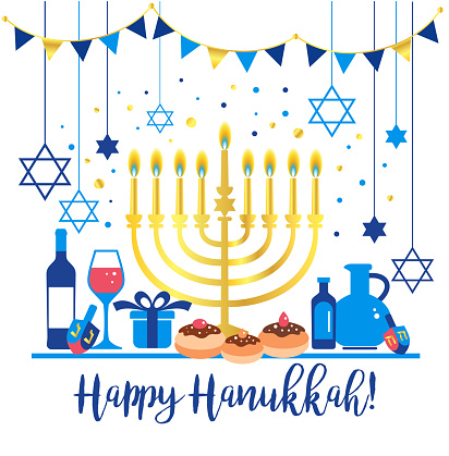 Jewish holiday Hanukkah greeting card traditional Chanukah symbols - wooden dreidels spinning top , Hebrew letters, donuts, menorah candles, oil jar, star David glowing lights illustration.