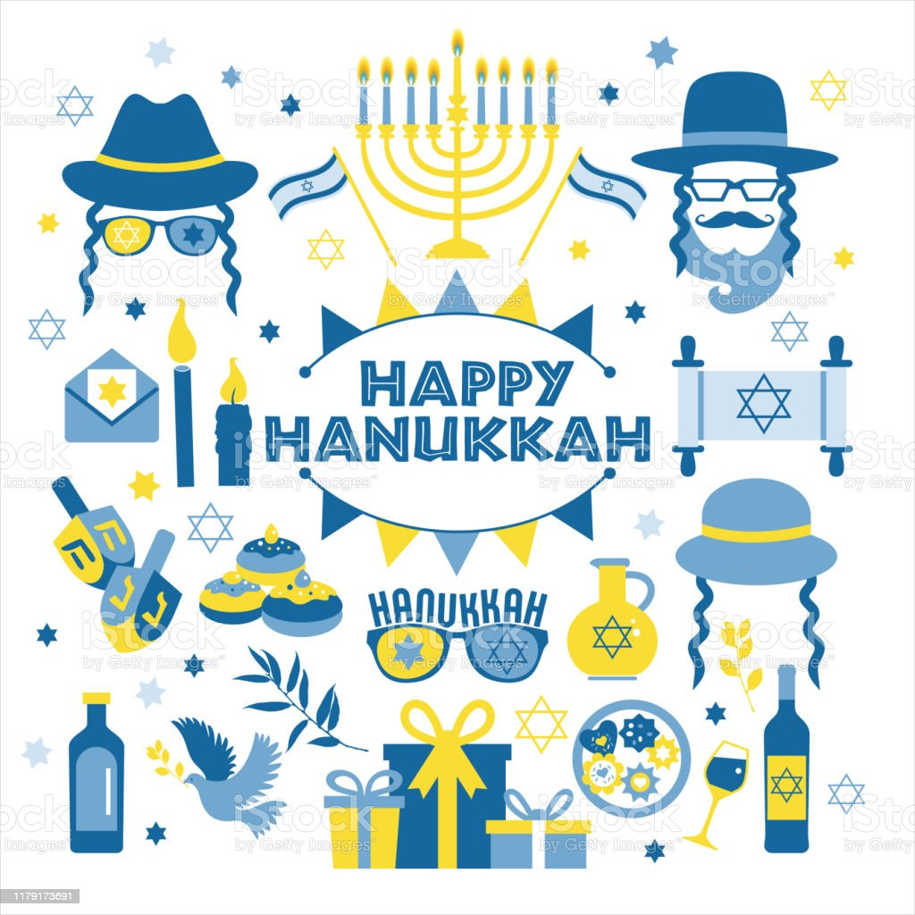 Jewish Holiday Hanukkah Greeting Card Traditional Chanukah Symbols Wooden Dreidels Spinning Top And Hebrew Letters Donuts Menorah Candles Oil Jar Star David Illustration Stock Illustration Download Image Now Istock