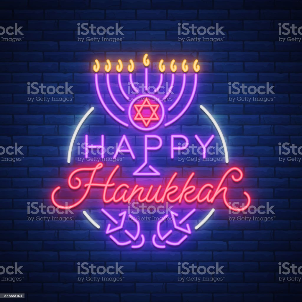 Jewish Holiday Hanukkah Is A Neon Sign A Greeting Card A Traditional