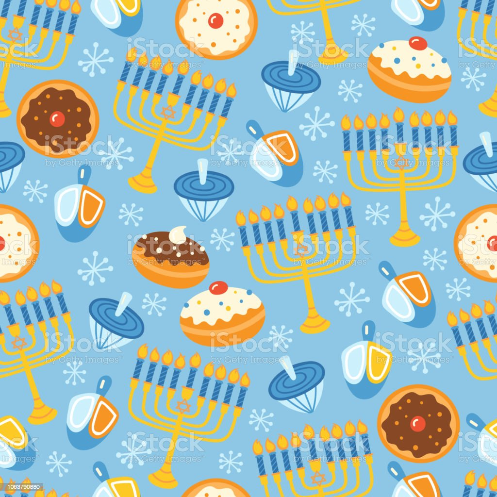 Jewish holiday Hanukkah seamless pattern background. Vector...