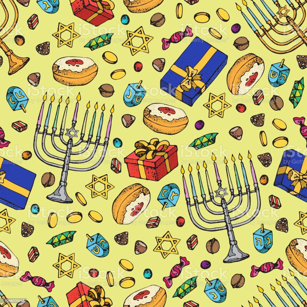 Jewish holiday Hanukkah seamless pattern. Set of traditional Chanukah...