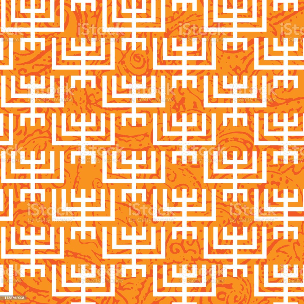 Seamless pattern with Hanukkah menorah in symply tribal geometric...