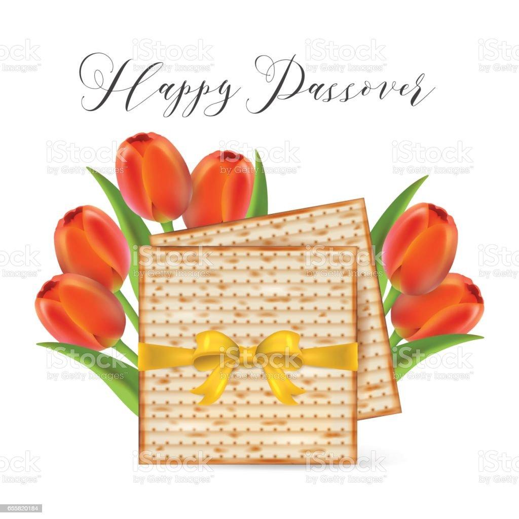 Bandeira de Páscoa feriado judaico de design com pão ázimo e tulipa flores isoladas no fundo branco. Ilustração vetorial realista - ilustração de arte em vetor