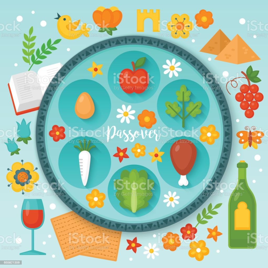 Jewish Holiday Passover Seder Plate And Traditional Symbols For