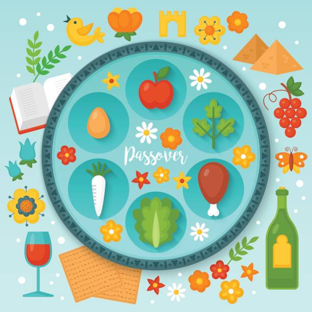 jewish holiday passover seder plate and traditional symbols for graphic and web design. vector illustration - passover stock illustrations, clip art, cartoons, & icons