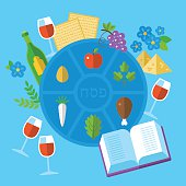 Jewish holiday Passover seder plate with flat stylish icons.