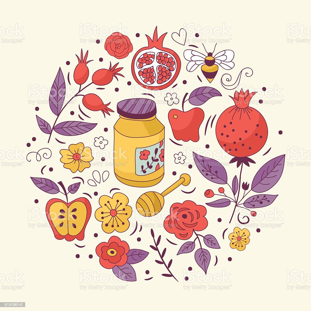 Jewish holiday Rosh Hashana (New Year) greeting card design vector art illustration