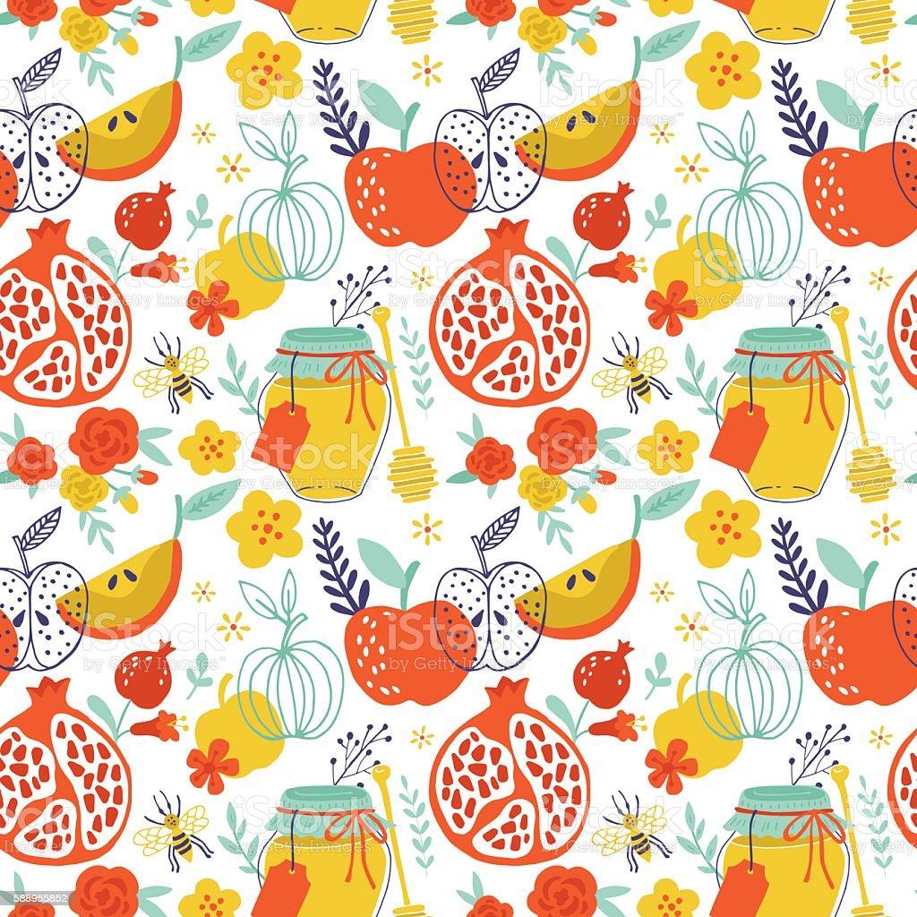 Jewish holiday Rosh Hashana seamless pattern design with apples, vector art illustration