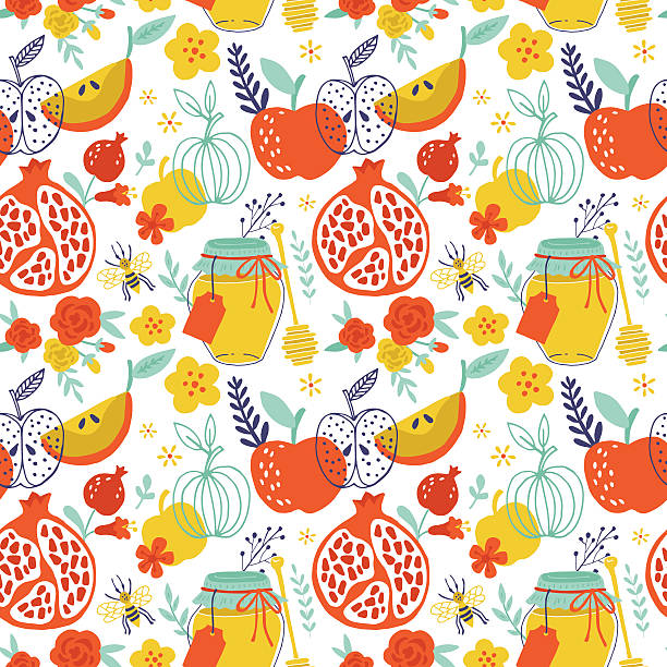 jewish holiday rosh hashana seamless pattern design with apples, - rosh hashana stock illustrations