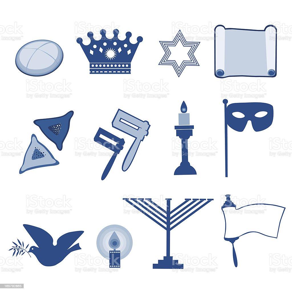 Jewish Holiday Symbols vector art illustration